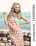 happy woman in summertime... | Shutterstock . vector #196890383