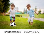 two cute little boys  playing... | Shutterstock . vector #196943177