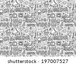 seamless doodle media pattern | Shutterstock .eps vector #197007527