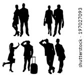 vector silhouette of people on... | Shutterstock .eps vector #197027093