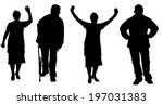 vector silhouette of old people ... | Shutterstock .eps vector #197031383