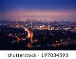 los angeles skyline at night ... | Shutterstock . vector #197034593