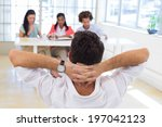 businessman relaxed with hands... | Shutterstock . vector #197042123
