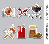 barbecue stickers | Shutterstock .eps vector #197044703