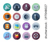 flat design icons for sound and ...