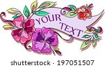 cartoon floral text label with... | Shutterstock .eps vector #197051507