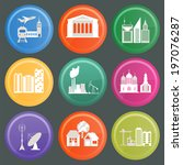 set of icons infrastructure... | Shutterstock .eps vector #197076287
