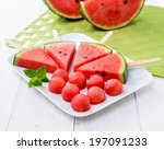 watermelon in the dish  close up | Shutterstock . vector #197091233