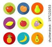 vector set round icons fruit in ... | Shutterstock .eps vector #197121053