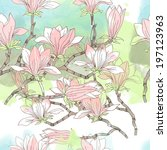 magnolia flower pattern. | Shutterstock .eps vector #197123963