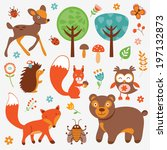 funny forest animals collection | Shutterstock . vector #197132873