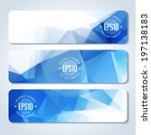 set of blue vector banner with... | Shutterstock .eps vector #197138183