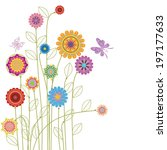 card with abstract flowers and... | Shutterstock .eps vector #197177633