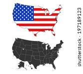 usa flag design map  | Shutterstock .eps vector #197189123