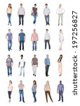 collage of multiethnic people... | Shutterstock . vector #197256827