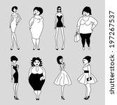 set of vector cartoon slim and... | Shutterstock .eps vector #197267537