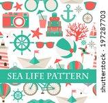 sea life pattern | Shutterstock .eps vector #197287703