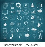 cloud computing sketch.  vector ... | Shutterstock .eps vector #197305913