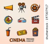cinema  movie  freehand icons... | Shutterstock .eps vector #197307917