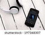 concept of listening music from ... | Shutterstock . vector #197368307