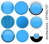 set of blank blue round buttons ... | Shutterstock .eps vector #197401757