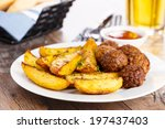 Постер, плакат: crispy potato wedges with