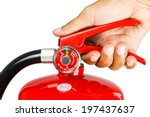 holding fire extinguisher... | Shutterstock . vector #197437637