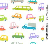 cartoon cars seamless pattern | Shutterstock .eps vector #197438363