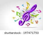 Colorful 3d Music Notes Vector...