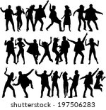 dancing silhouettes | Shutterstock .eps vector #197506283