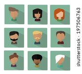 vector people faces icons set...