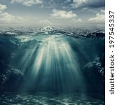 retro style marine landscape... | Shutterstock . vector #197545337