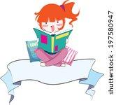 vector girl reading banner | Shutterstock .eps vector #197580947
