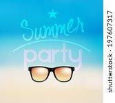 vector summer beach party... | Shutterstock .eps vector #197607317