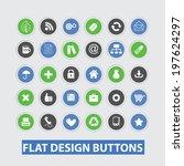 flat app design buttons set ...