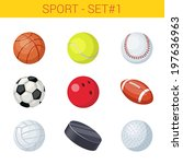 sports balls vector icon set.... | Shutterstock .eps vector #197636963