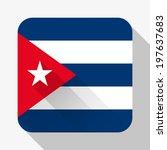 simple flat icon cuba flag....