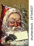 A Jolly Santa Claus with a blank, Christmas greeting card - A Victorian illustration - stock photo