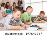cheerful little boys are lying... | Shutterstock . vector #197641367