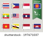 abstract set of nation flags for Southeast asia countries, AEC, ASEAN Economic Community, Vector illustration, EPS10 - stock vector