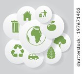 vector eco icons in circle... | Shutterstock .eps vector #197671403