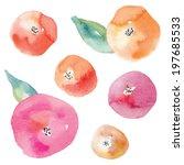 Watercolor Flower Vector. Roun...