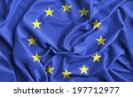 closeup of ruffled europe flag  | Shutterstock . vector #197712977