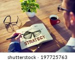 man with a note and strategy... | Shutterstock . vector #197725763
