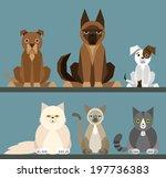 puppy set   flat design simple... | Shutterstock .eps vector #197736383