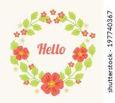 wreath with flowers. vector... | Shutterstock .eps vector #197740367