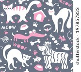 cats and dogs seamless pattern...   Shutterstock .eps vector #197857823