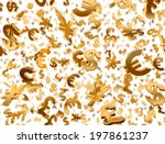 Stock photo golden currency symbols falling on the white background 197861237