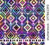 cool aztec geo over paint  ... | Shutterstock . vector #197861393