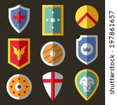 shield flat icons for game | Shutterstock .eps vector #197861657